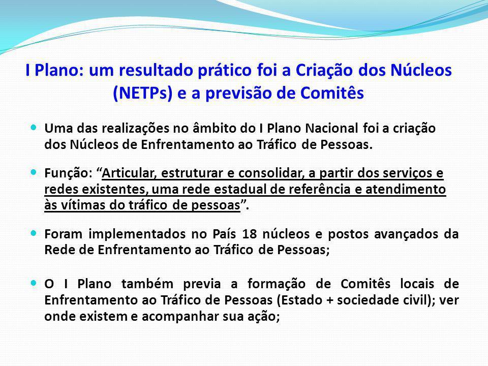 I Plano: um resultado prático foi a Criação dos Núcleos (NETPs) e a previsão de Comitês Uma das realizações no âmbito do I Plano Nacional foi a criaçã