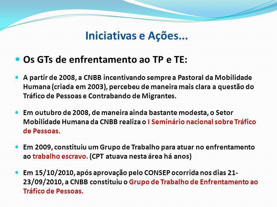 Iniciativas e Ações... Os GTs de enfrentamento ao TP e TE: A partir de 2008, a CNBB incentivando sempre a Pastoral da Mobilidade Humana (criada em 200