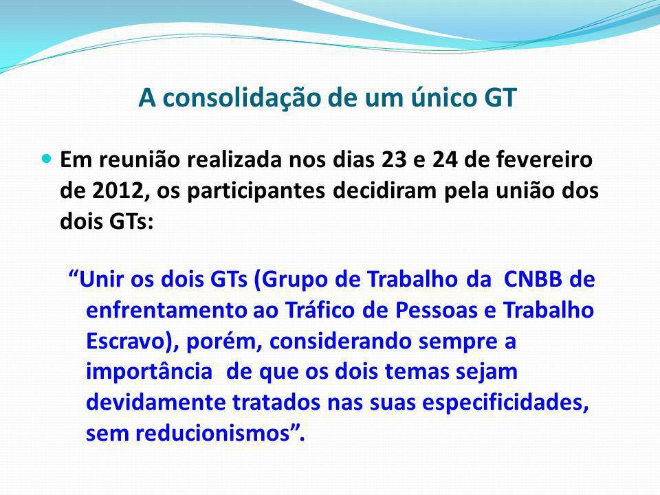 A consolidação de um único GT Em reunião realizada nos dias 23 e 24 de fevereiro de 2012, os participantes decidiram pela união dos dois GTs: Unir os