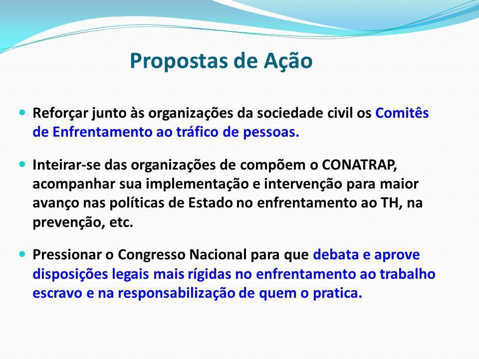 Propostas de Ação Reforçar junto às organizações da sociedade civil os Comitês de Enfrentamento ao tráfico de pessoas. Inteirar-se das organizações de