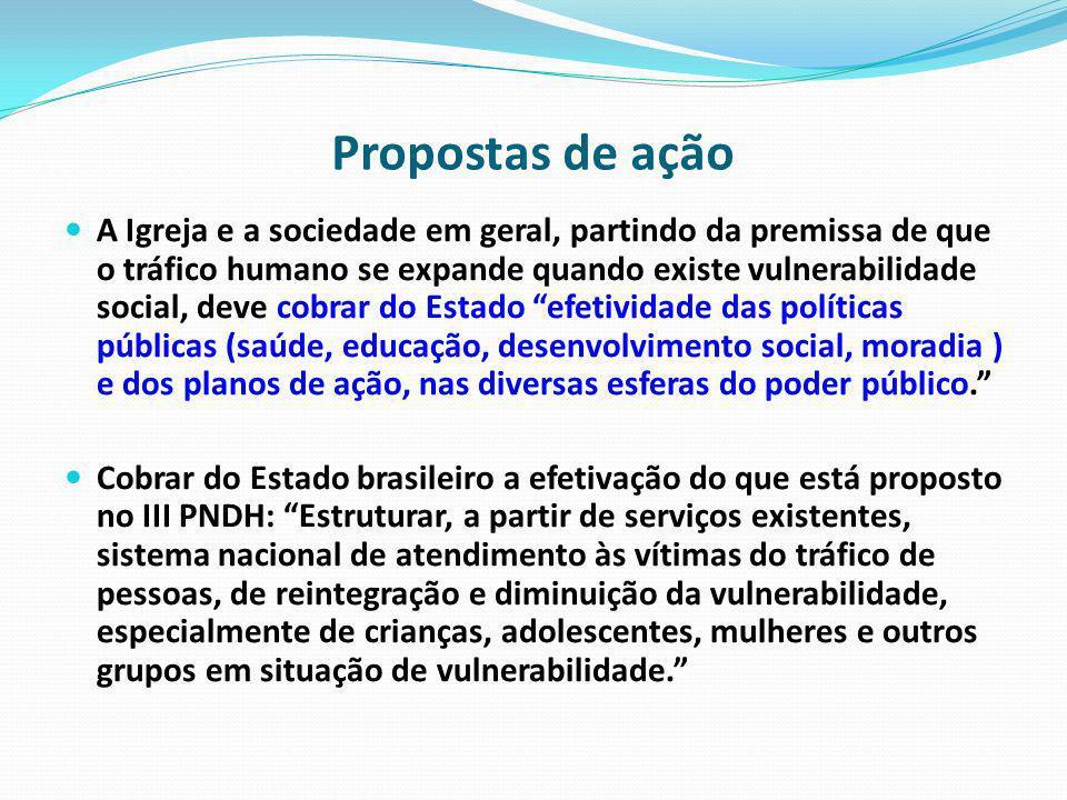 Propostas de ação A Igreja e a sociedade em geral, partindo da premissa de que o tráfico humano se expande quando existe vulnerabilidade social, deve