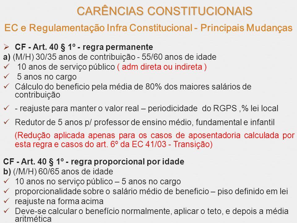 CARÊNCIAS CONSTITUCIONAIS EC e Regulamentação Infra Constitucional - Principais Mudanças CF - Art. 40 § 1º - regra permanente a) (M/H) 30/35 anos de c