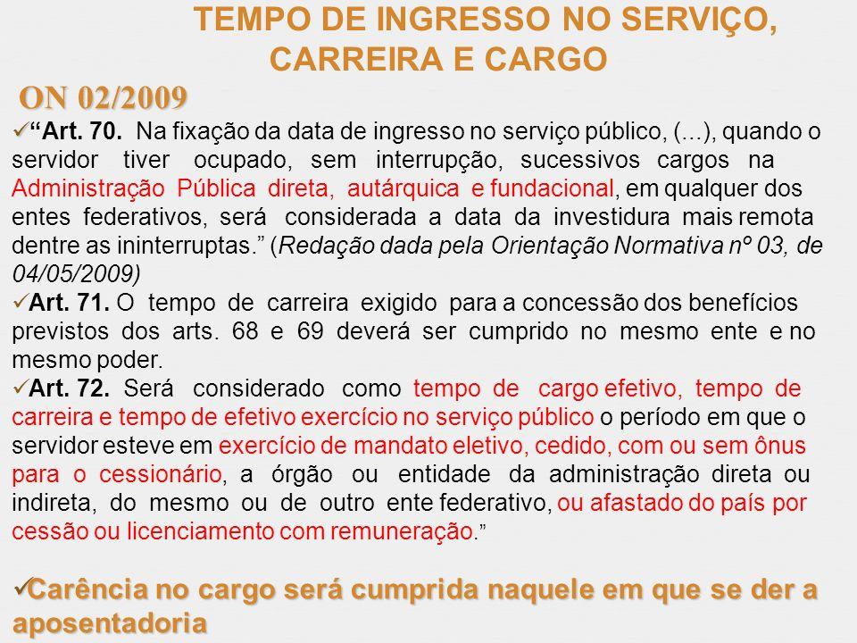 TEMPO DE INGRESSO NO SERVIÇO, CARREIRA E CARGO ON 02/2009 ON 02/2009 Art. 70. Na fixação da data de ingresso no serviço público, (...), quando o servi