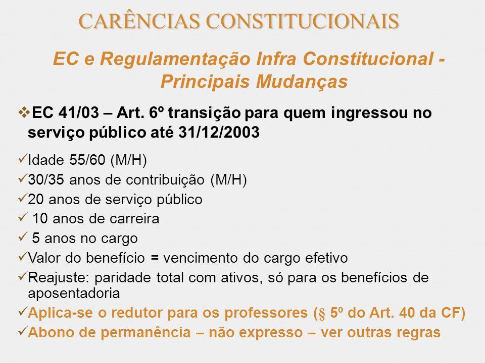 CARÊNCIAS CONSTITUCIONAIS EC e Regulamentação Infra Constitucional - Principais Mudanças EC 41/03 – Art. 6º transição para quem ingressou no serviço p