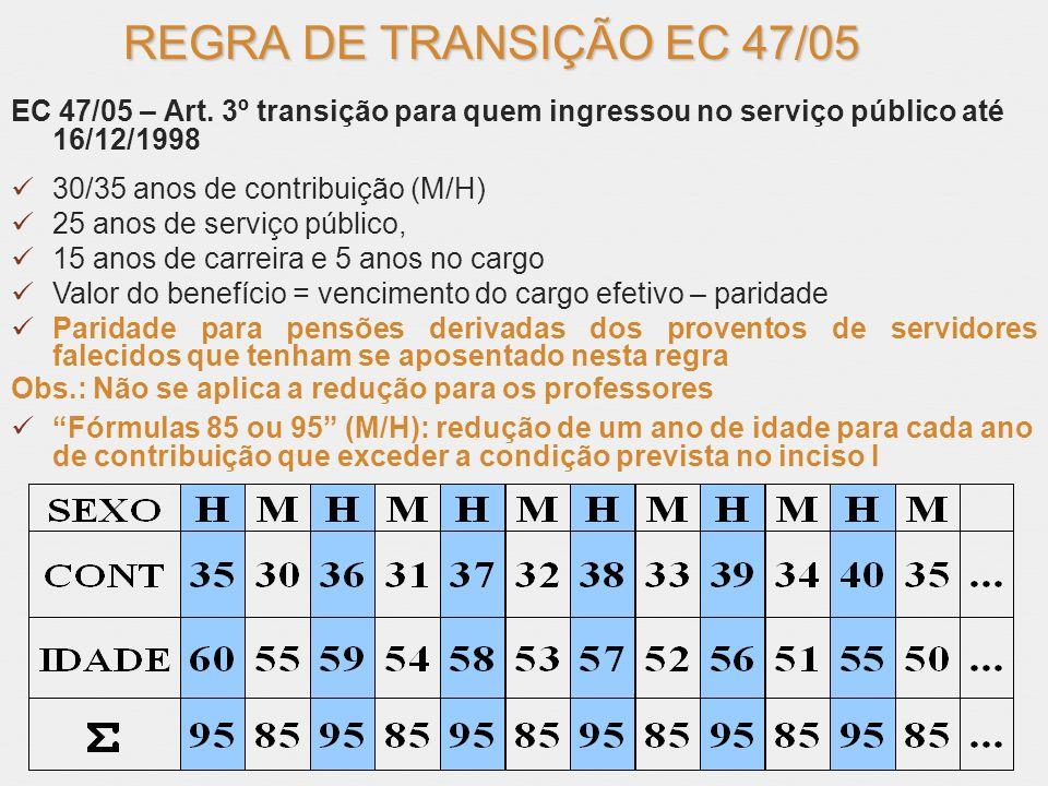 REGRA DE TRANSIÇÃO EC 47/05 EC 47/05 – Art. 3º transição para quem ingressou no serviço público até 16/12/1998 30/35 anos de contribuição (M/H) 25 ano