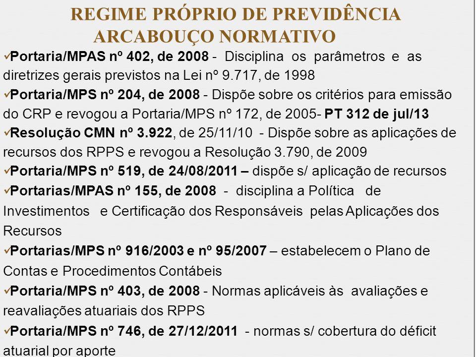 REGIME PRÓPRIO DE PREVIDÊNCIA ARCABOUÇO NORMATIVO Portaria/MPAS nº 402, de 2008 - Disciplina os parâmetros e as diretrizes gerais previstos na Lei nº