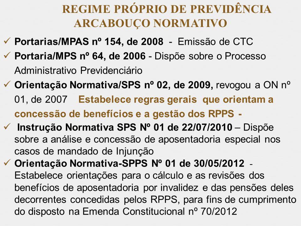 REGIME PRÓPRIO DE PREVIDÊNCIA ARCABOUÇO NORMATIVO Portarias/MPAS nº 154, de 2008 - Emissão de CTC Portaria/MPS nº 64, de 2006 - Dispõe sobre o Process