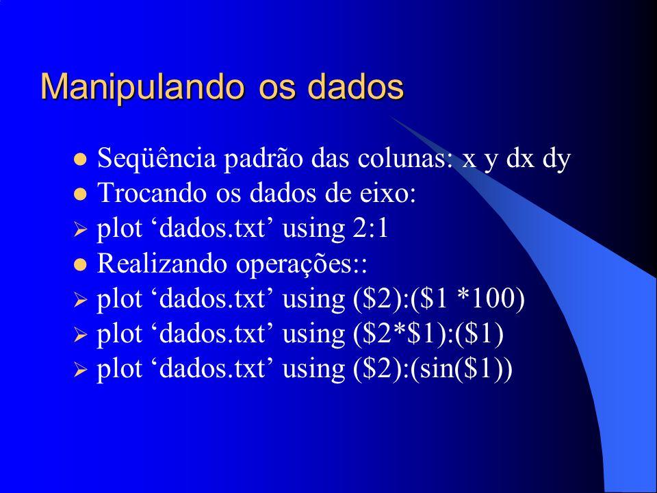 Manipulando os dados Seqüência padrão das colunas: x y dx dy Trocando os dados de eixo: plot dados.txt using 2:1 Realizando operações:: plot dados.txt