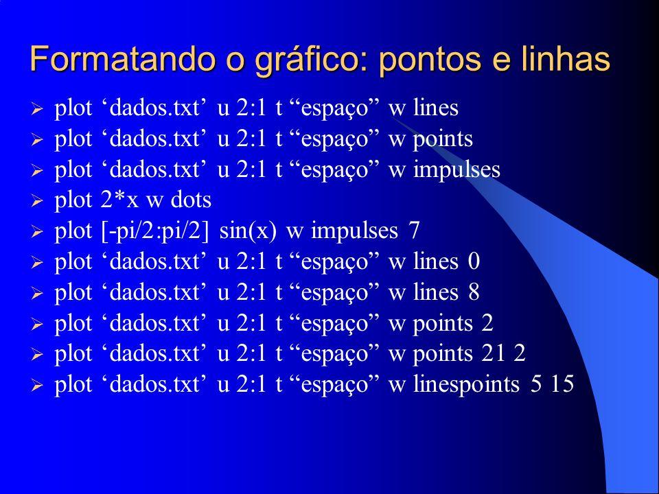 Ajuste Linear Função de ajuste f1(x) = a1 + b1 * x Estimativa inicial dos parâmetros a1 = 2; b1 = 2; Solicitando o ajuste fit f1(x) dados.txt using 2:1 via a1, b1 Plotando os dados e a curva ajustada plot f1(x), data.txt u 2:1