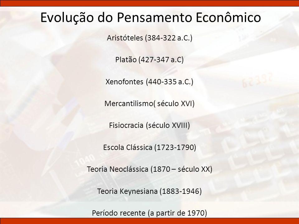 Evolução do Pensamento Econômico Aristóteles (384-322 a.C.) Platão (427-347 a.C) Xenofontes (440-335 a.C.) Mercantilismo( século XVI) Fisiocracia (séc