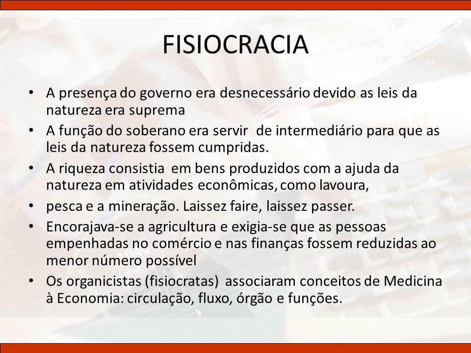 FISIOCRACIA A presença do governo era desnecessário devido as leis da natureza era suprema A função do soberano era servir de intermediário para que a