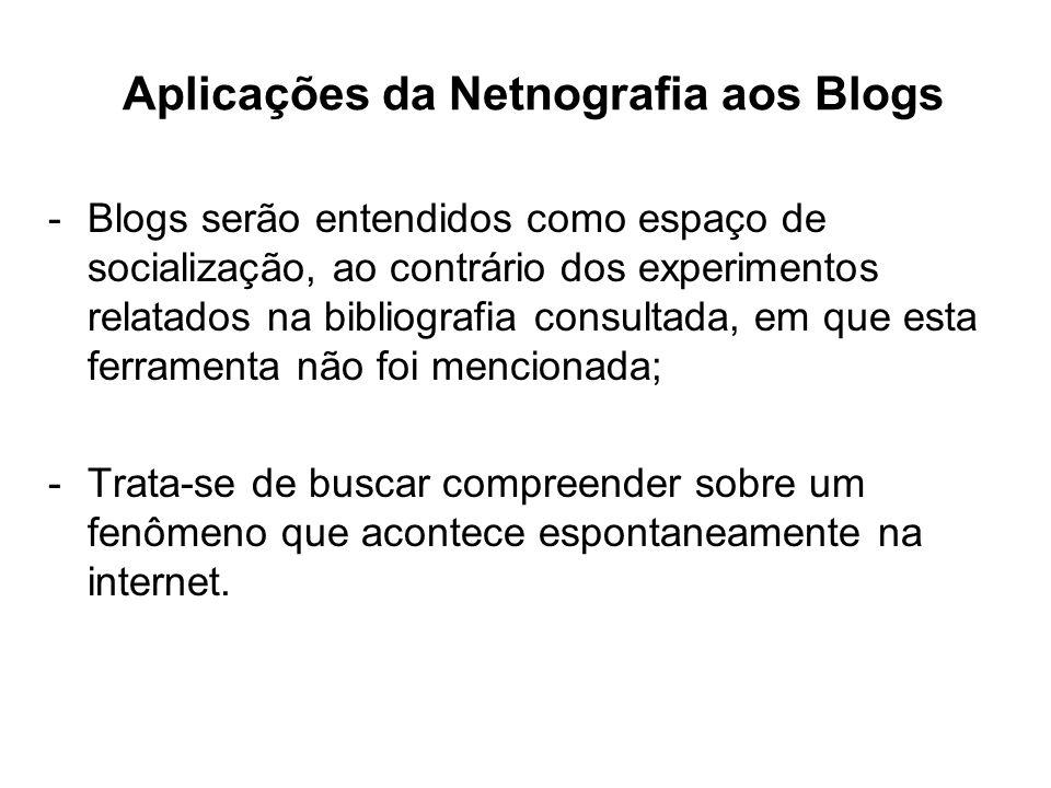 Aplicações da Netnografia aos Blogs -Blogs serão entendidos como espaço de socialização, ao contrário dos experimentos relatados na bibliografia consultada, em que esta ferramenta não foi mencionada; -Trata-se de buscar compreender sobre um fenômeno que acontece espontaneamente na internet.