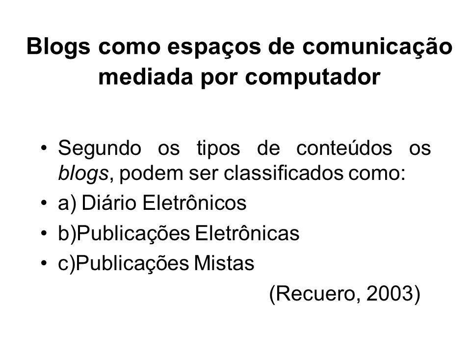 Blogs como espaços de comunicação mediada por computador Segundo os tipos de conteúdos os blogs, podem ser classificados como: a) Diário Eletrônicos b)Publicações Eletrônicas c)Publicações Mistas (Recuero, 2003)