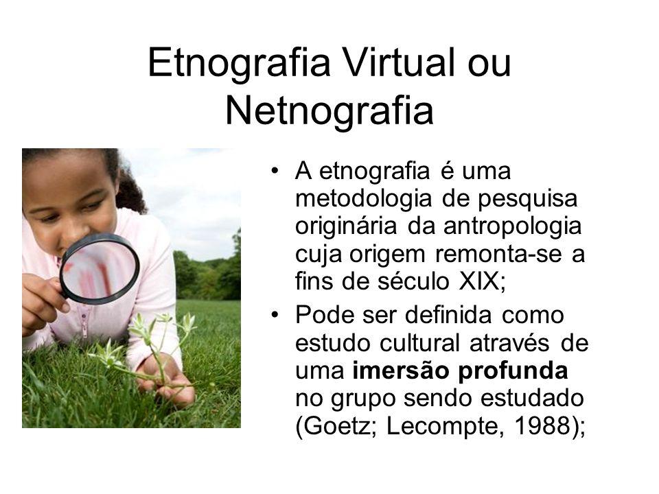 Etnografia Virtual ou Netnografia A etnografia é uma metodologia de pesquisa originária da antropologia cuja origem remonta-se a fins de século XIX; Pode ser definida como estudo cultural através de uma imersão profunda no grupo sendo estudado (Goetz; Lecompte, 1988);