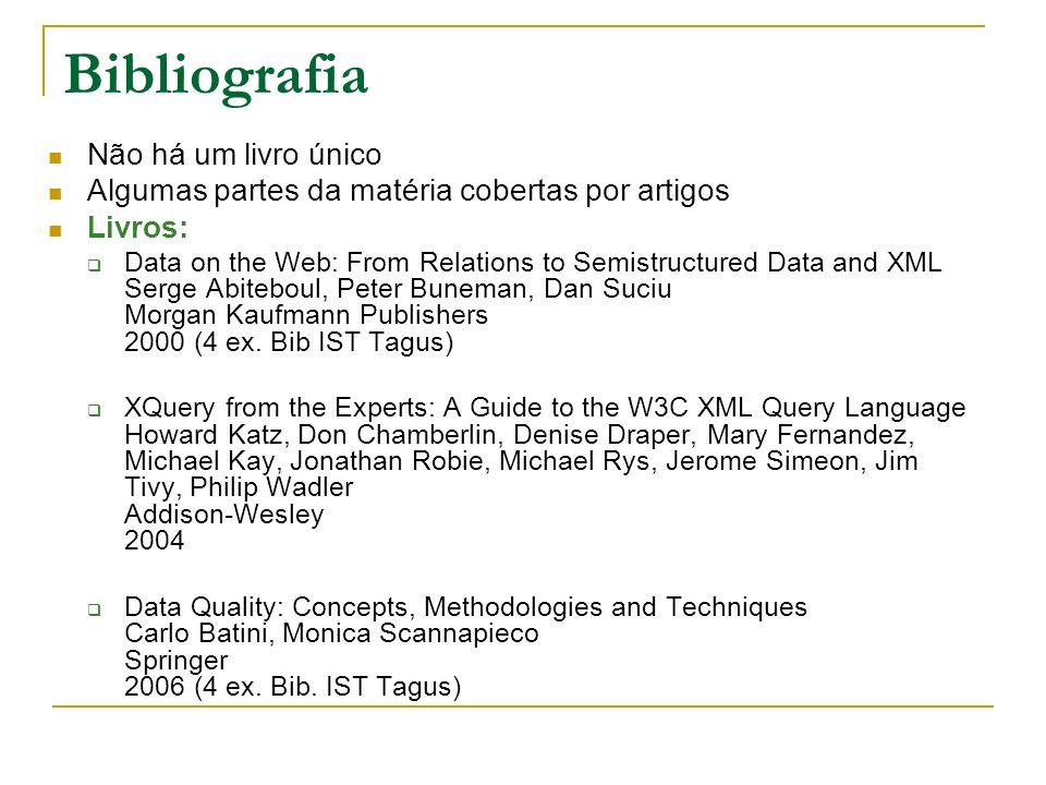 Bibliografia Não há um livro único Algumas partes da matéria cobertas por artigos Livros: Data on the Web: From Relations to Semistructured Data and X
