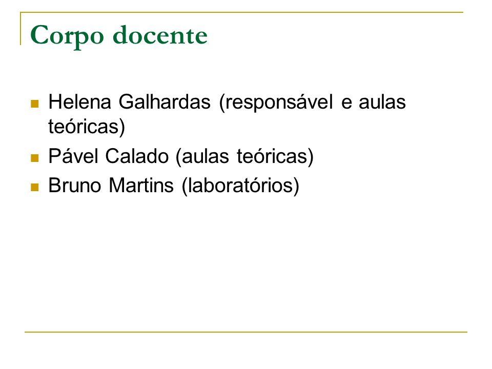 Corpo docente Helena Galhardas (responsável e aulas teóricas) Pável Calado (aulas teóricas) Bruno Martins (laboratórios)