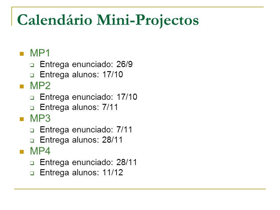Calendário Mini-Projectos MP1 Entrega enunciado: 26/9 Entrega alunos: 17/10 MP2 Entrega enunciado: 17/10 Entrega alunos: 7/11 MP3 Entrega enunciado: 7