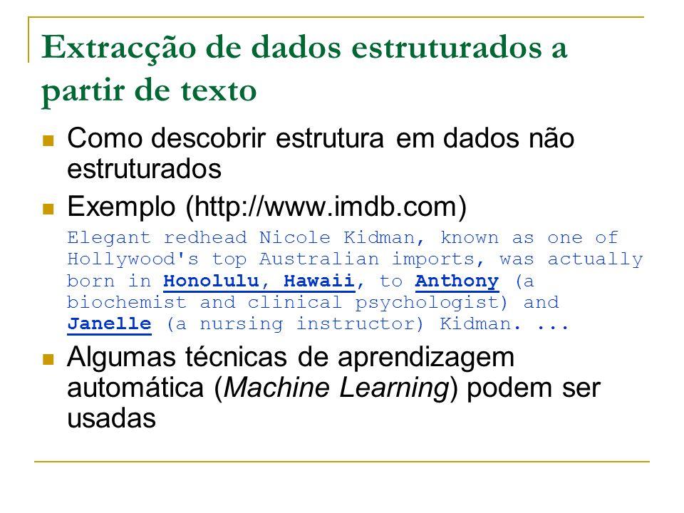Extracção de dados estruturados a partir de texto Como descobrir estrutura em dados não estruturados Exemplo (http://www.imdb.com) Elegant redhead Nic