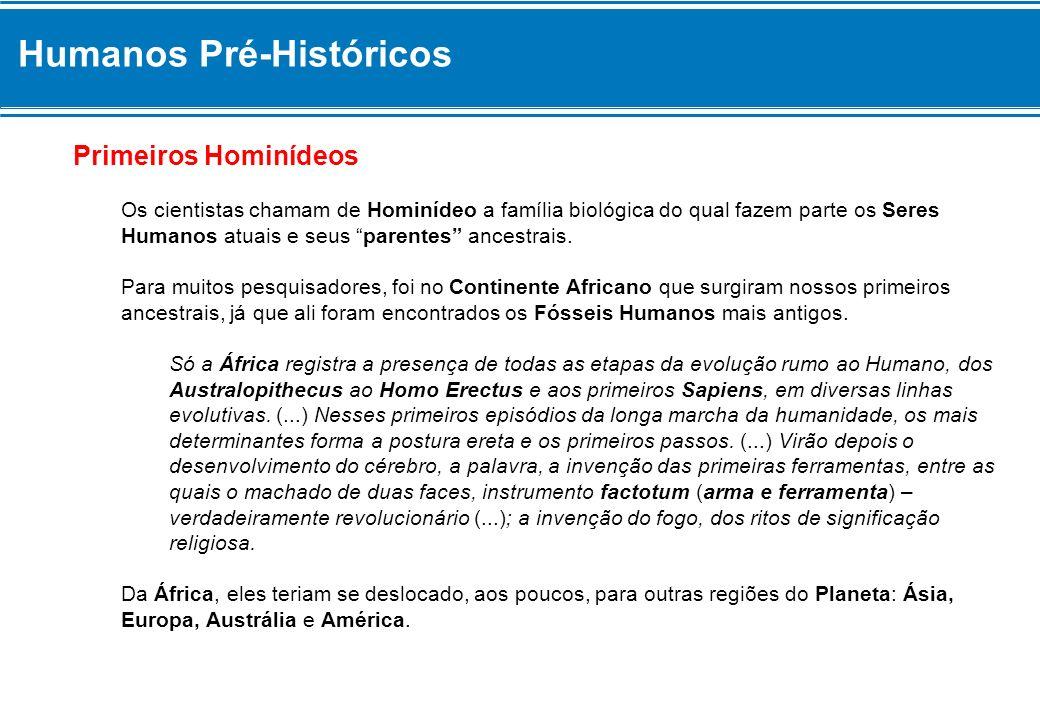 Humanos Pré-Históricos Primeiros Hominídeos Os cientistas chamam de Hominídeo a família biológica do qual fazem parte os Seres Humanos atuais e seus parentes ancestrais.