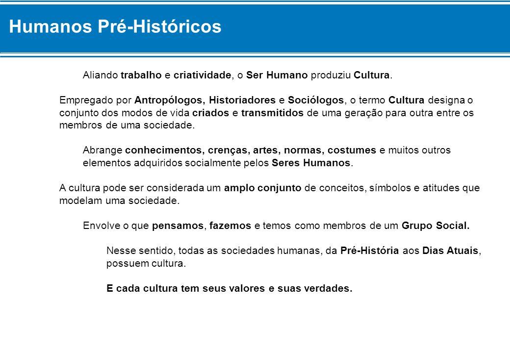 Humanos Pré-Históricos Aliando trabalho e criatividade, o Ser Humano produziu Cultura. Empregado por Antropólogos, Historiadores e Sociólogos, o termo