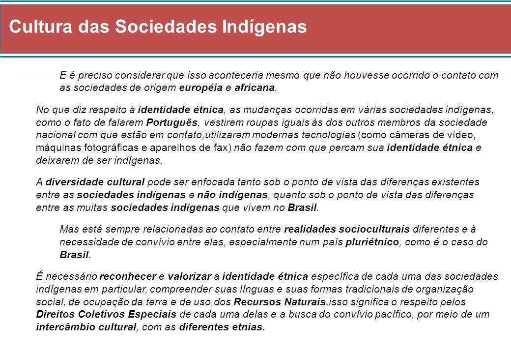 Cultura das Sociedades Indígenas E é preciso considerar que isso aconteceria mesmo que não houvesse ocorrido o contato com as sociedades de origem européia e africana.