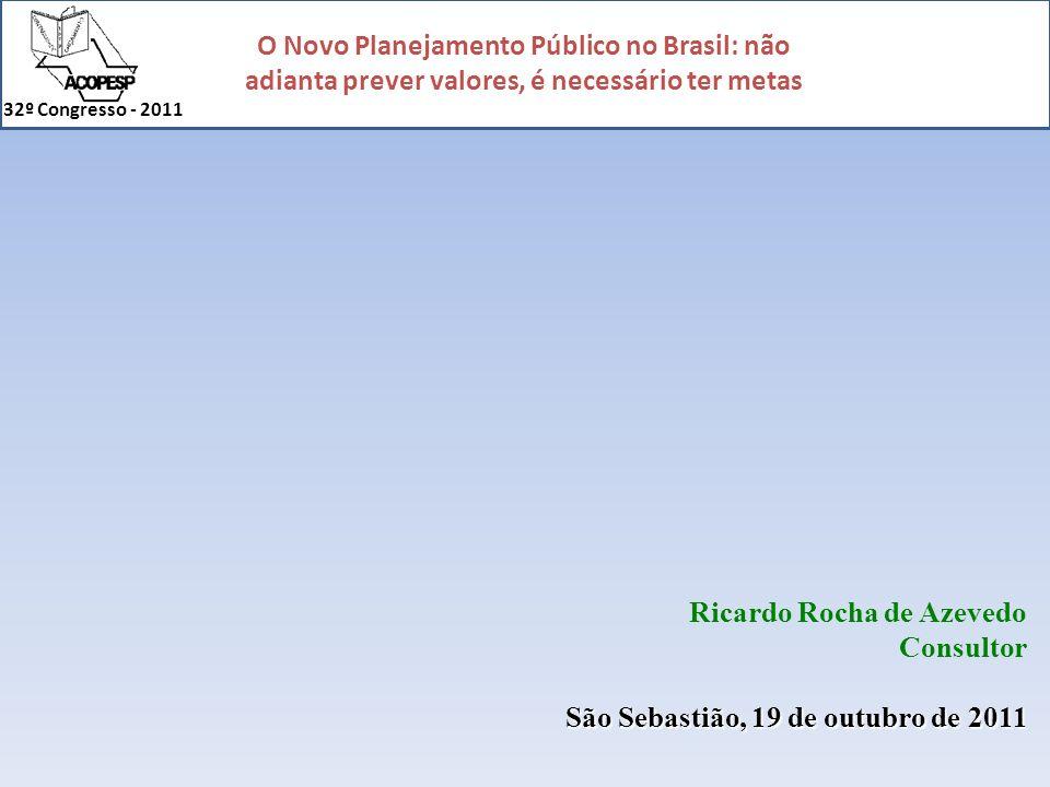 O Novo Planejamento Público no Brasil: não adianta prever valores, é necessário ter metas 32º Congresso - 2011 Origem dos Recursos: Tributos Serviços Transferências (estaduais / federais) O que sobrar...