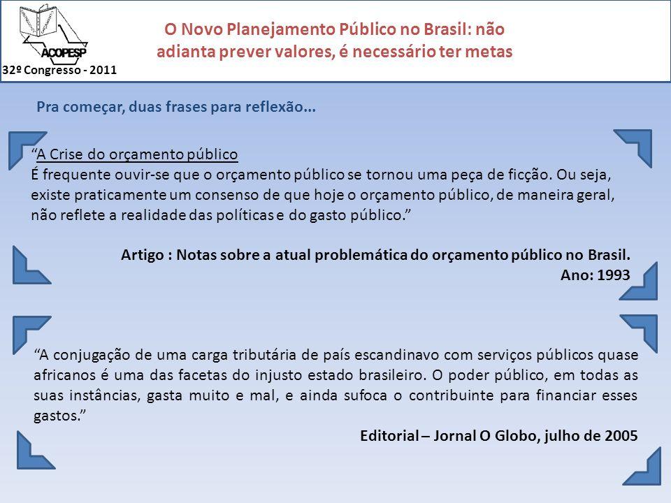 O Novo Planejamento Público no Brasil: não adianta prever valores, é necessário ter metas 32º Congresso - 2011 investimentos Despesas com custeio Gastos com Pessoal Combustíveis Manutenção de Móveis e Imóveis Limpeza e conservação Subvenções Gastos com Assistência Social Distribuição de Medicamentos Transporte de Alunos Transporte de Pacientes Aquisição de imobilizado Obras de Infra-estrutura Pagamento de dívidas Restos a Pagar Consignações Despesa: 50 milhões Receitas Previstas Receita: 50 milhões