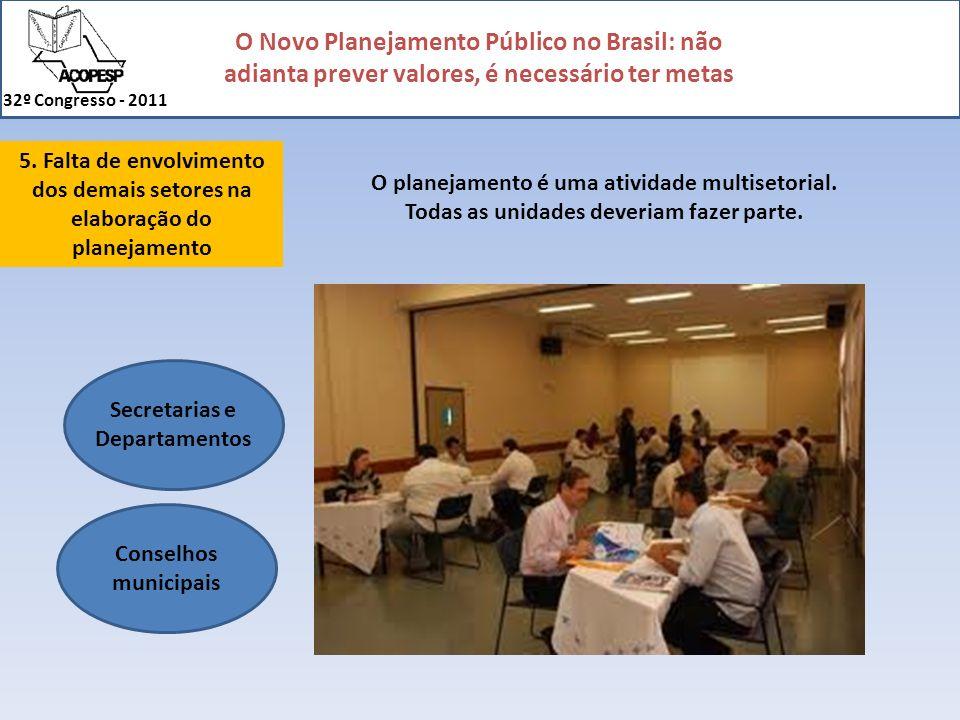 O Novo Planejamento Público no Brasil: não adianta prever valores, é necessário ter metas 32º Congresso - 2011 5. Falta de envolvimento dos demais set
