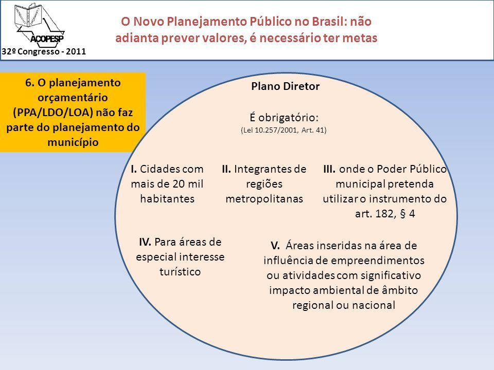 O Novo Planejamento Público no Brasil: não adianta prever valores, é necessário ter metas 32º Congresso - 2011 6. O planejamento orçamentário (PPA/LDO
