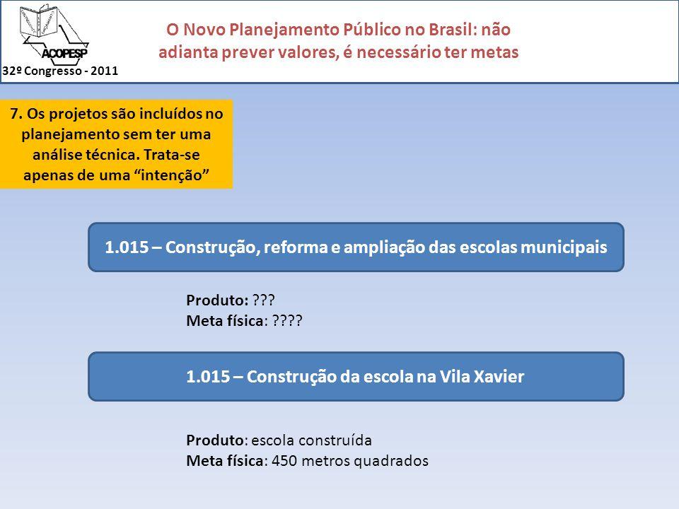 O Novo Planejamento Público no Brasil: não adianta prever valores, é necessário ter metas 32º Congresso - 2011 7. Os projetos são incluídos no planeja