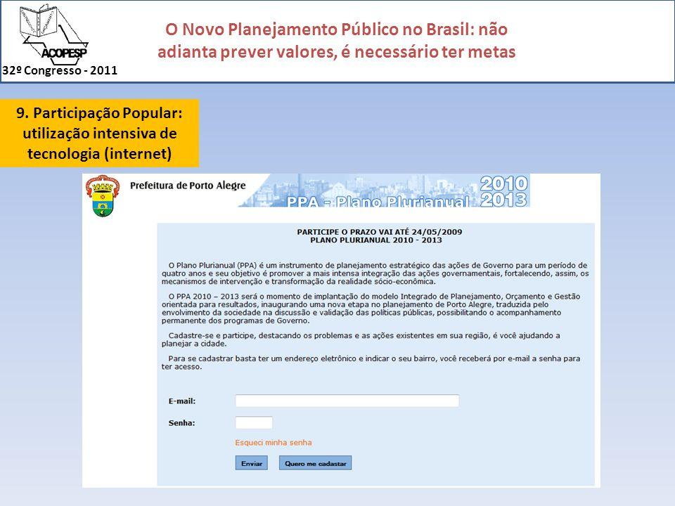 O Novo Planejamento Público no Brasil: não adianta prever valores, é necessário ter metas 32º Congresso - 2011 9. Participação Popular: utilização int