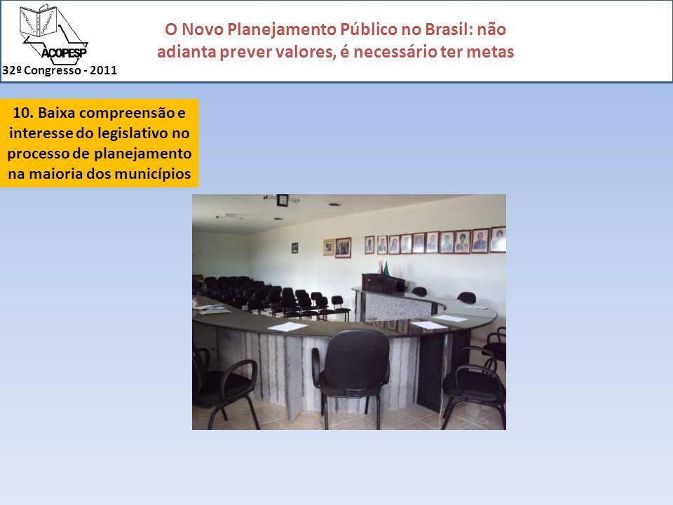 O Novo Planejamento Público no Brasil: não adianta prever valores, é necessário ter metas 32º Congresso - 2011 10. Baixa compreensão e interesse do le