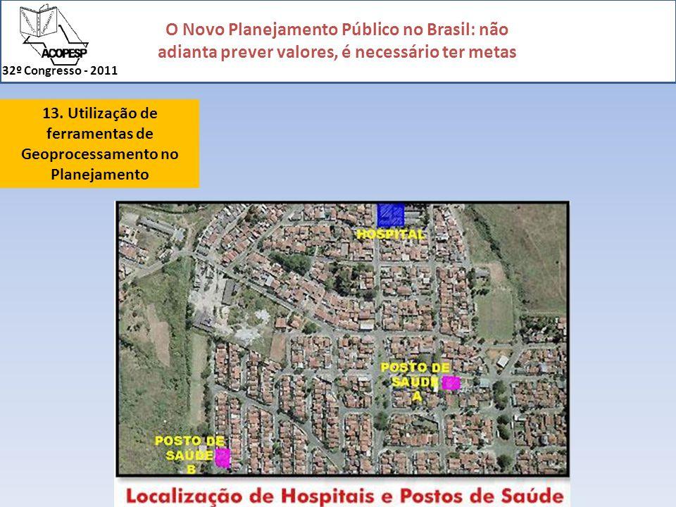 O Novo Planejamento Público no Brasil: não adianta prever valores, é necessário ter metas 32º Congresso - 2011 13. Utilização de ferramentas de Geopro