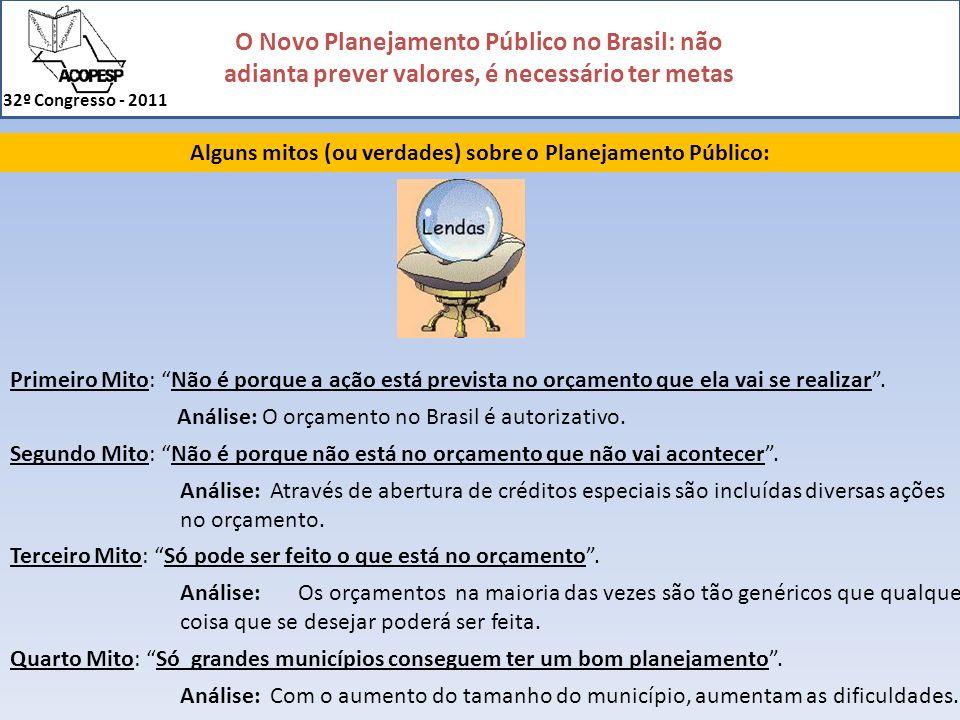 O Novo Planejamento Público no Brasil: não adianta prever valores, é necessário ter metas 32º Congresso - 2011 Alguns mitos (ou verdades) sobre o Plan