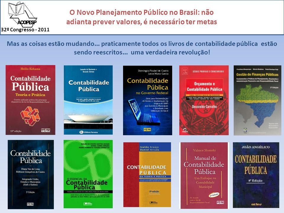 O Novo Planejamento Público no Brasil: não adianta prever valores, é necessário ter metas 32º Congresso - 2011 Muita coisa evoluiu em pouco mais de 10 anos...