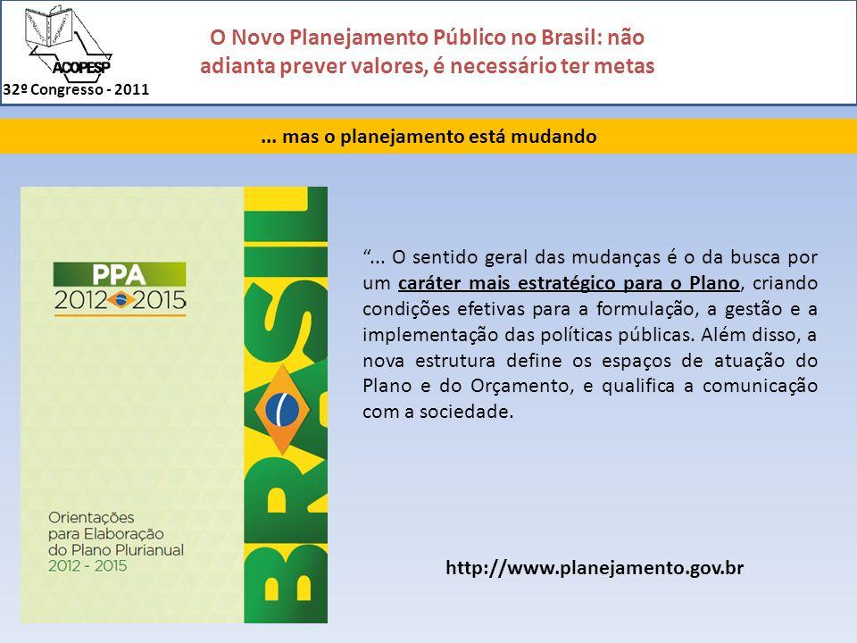 O Novo Planejamento Público no Brasil: não adianta prever valores, é necessário ter metas 32º Congresso - 2011... mas o planejamento está mudando... O