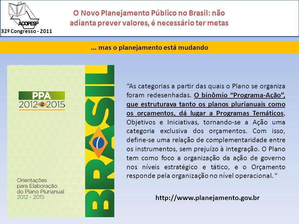 O Novo Planejamento Público no Brasil: não adianta prever valores, é necessário ter metas 32º Congresso - 2011... mas o planejamento está mudando As c