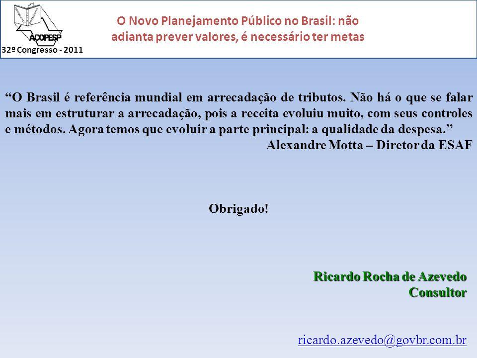 O Novo Planejamento Público no Brasil: não adianta prever valores, é necessário ter metas 32º Congresso - 2011 Ricardo Rocha de Azevedo Consultor rica