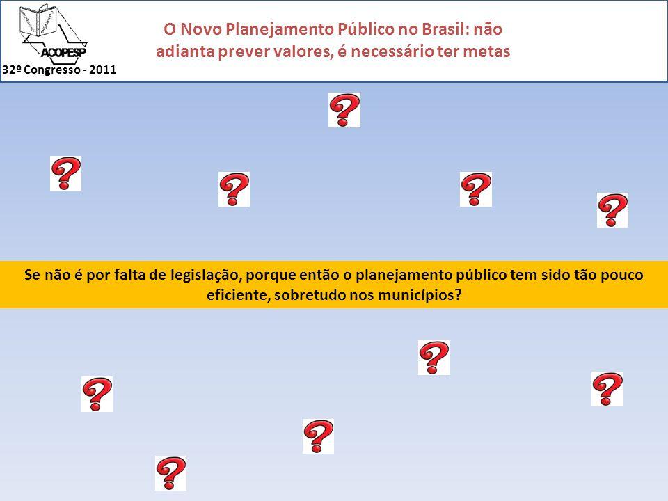 O Novo Planejamento Público no Brasil: não adianta prever valores, é necessário ter metas 32º Congresso - 2011 Infra-Estrutura: Origem dos Recursos: Tributos Serviços Transferências (estaduais / federais) Saúde: Educação Básica: 1.