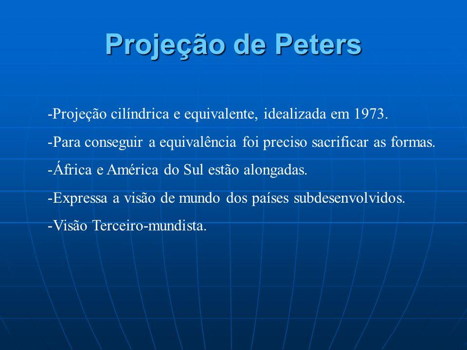 Projeção de Peters -Projeção cilíndrica e equivalente, idealizada em 1973. -Para conseguir a equivalência foi preciso sacrificar as formas. -África e