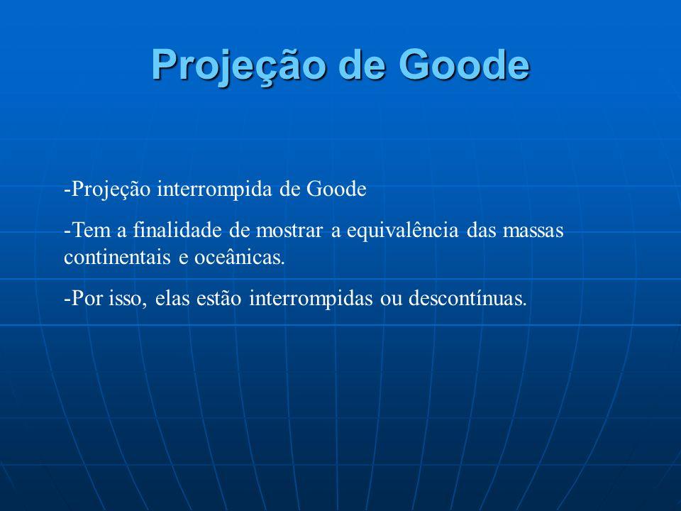 Projeção de Goode -Projeção interrompida de Goode -Tem a finalidade de mostrar a equivalência das massas continentais e oceânicas. -Por isso, elas est