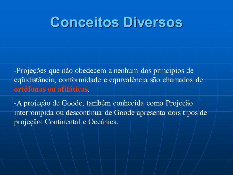 Conceitos Diversos -Projeções que não obedecem a nenhum dos princípios de eqüidistância, conformidade e equivalência são chamados de ortófonas ou afil