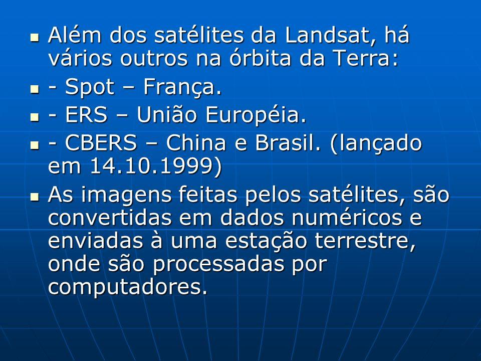 Além dos satélites da Landsat, há vários outros na órbita da Terra: Além dos satélites da Landsat, há vários outros na órbita da Terra: - Spot – Franç