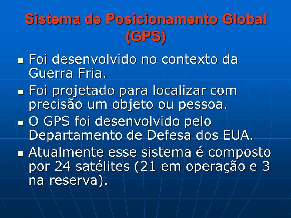 Sistema de Posicionamento Global (GPS) Foi desenvolvido no contexto da Guerra Fria. Foi desenvolvido no contexto da Guerra Fria. Foi projetado para lo