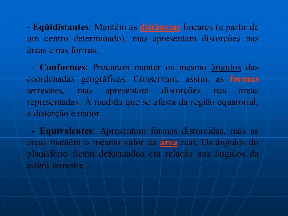 - Eqüidistantes: Mantêm as distâncias lineares (a partir de um centro determinado), mas apresentam distorções nas áreas e nas formas. - Conformes: Pro