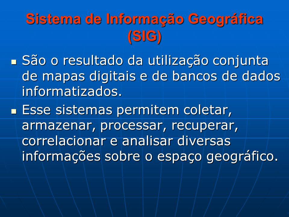 Sistema de Informação Geográfica (SIG) São o resultado da utilização conjunta de mapas digitais e de bancos de dados informatizados. São o resultado d