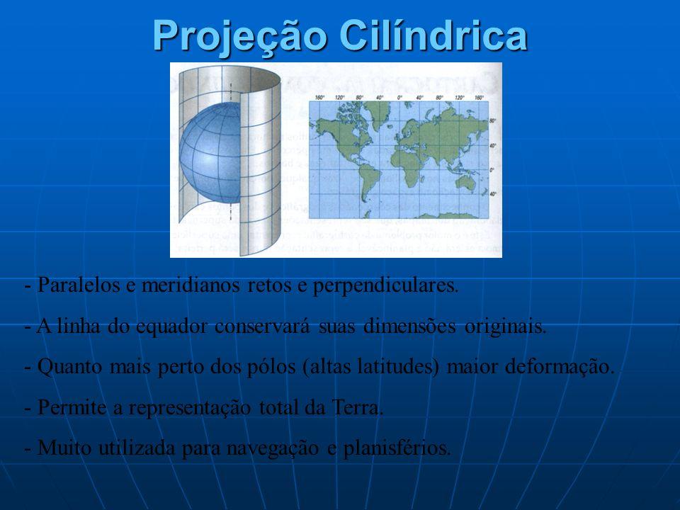 Projeção Cilíndrica - Paralelos e meridianos retos e perpendiculares. - A linha do equador conservará suas dimensões originais. - Quanto mais perto do