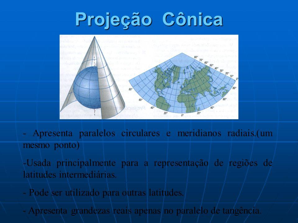 Projeção Cônica - Apresenta paralelos circulares e meridianos radiais.(um mesmo ponto) -Usada principalmente para a representação de regiões de latitu