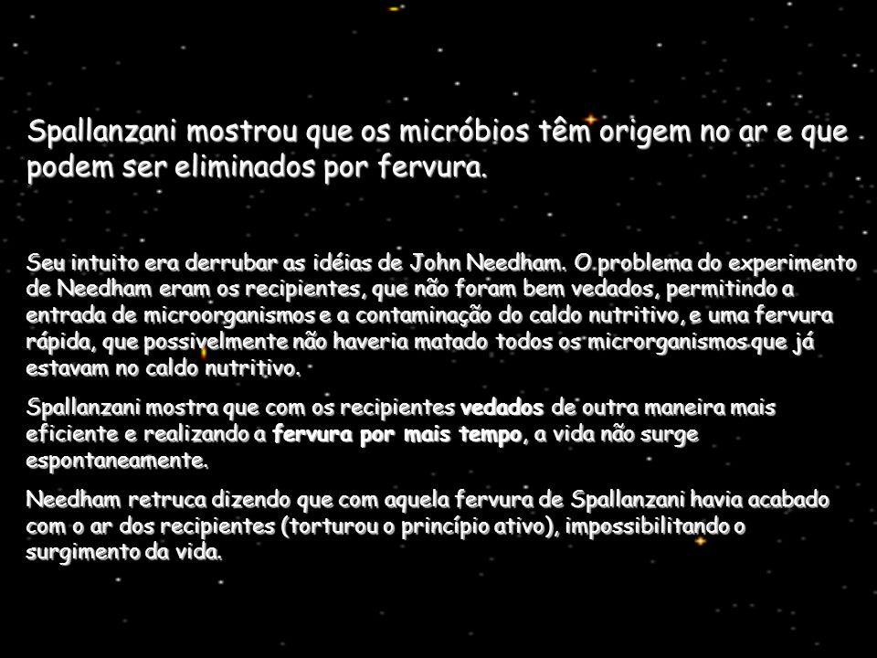 Spallanzani mostrou que os micróbios têm origem no ar e que podem ser eliminados por fervura. Seu intuito era derrubar as idéias de John Needham. O pr