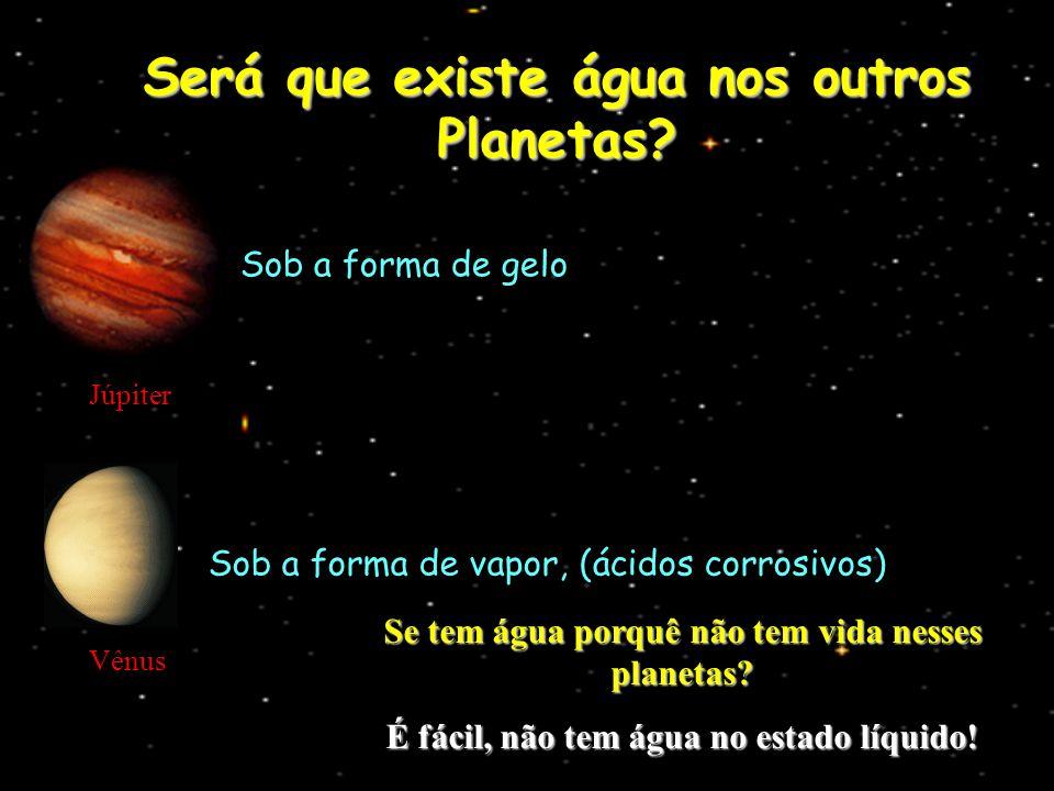 Será que existe água nos outros Planetas? Júpiter Sob a forma de gelo Vênus Sob a forma de vapor, (ácidos corrosivos) Se tem água porquê não tem vida